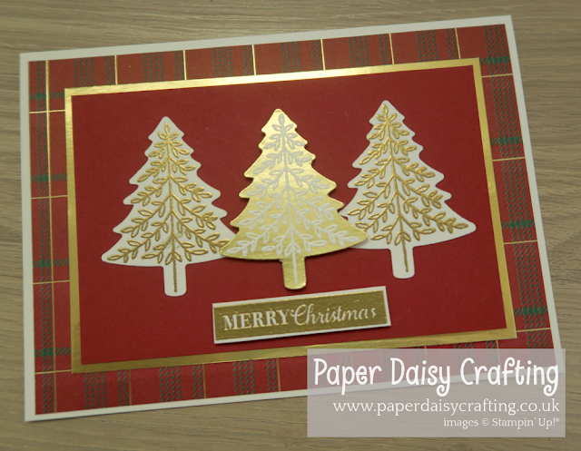Perfectly Plaid Christmas tree card Stampin' Up!