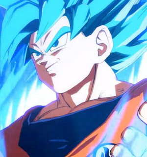 "Goku y Vegeta SSGSS en ""Dragon Ball FighterZ""."