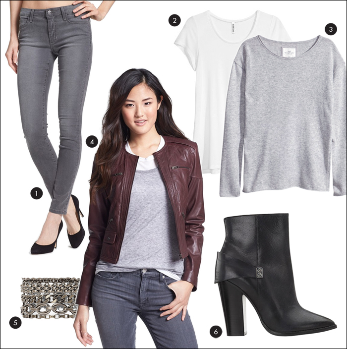 bernardo, quilted leather jacket, quilted, booties, gray sweater, gray jeans, joe's, H&M, nordstrom, chainlink bracelet