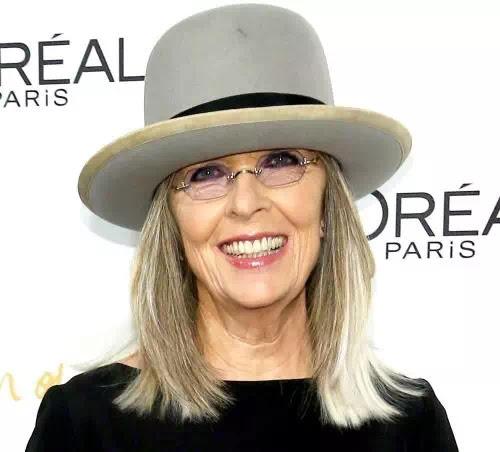Diane wears a satirical hat