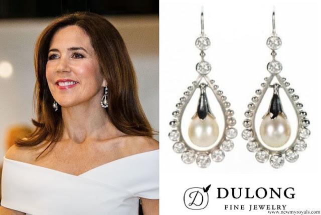 Crown Princess Mary wore Dulong Fine Jewelry snowdrop earrings