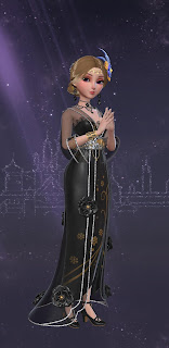Yuko in a black '20s style dress that's a mixture eastern and wester fashions