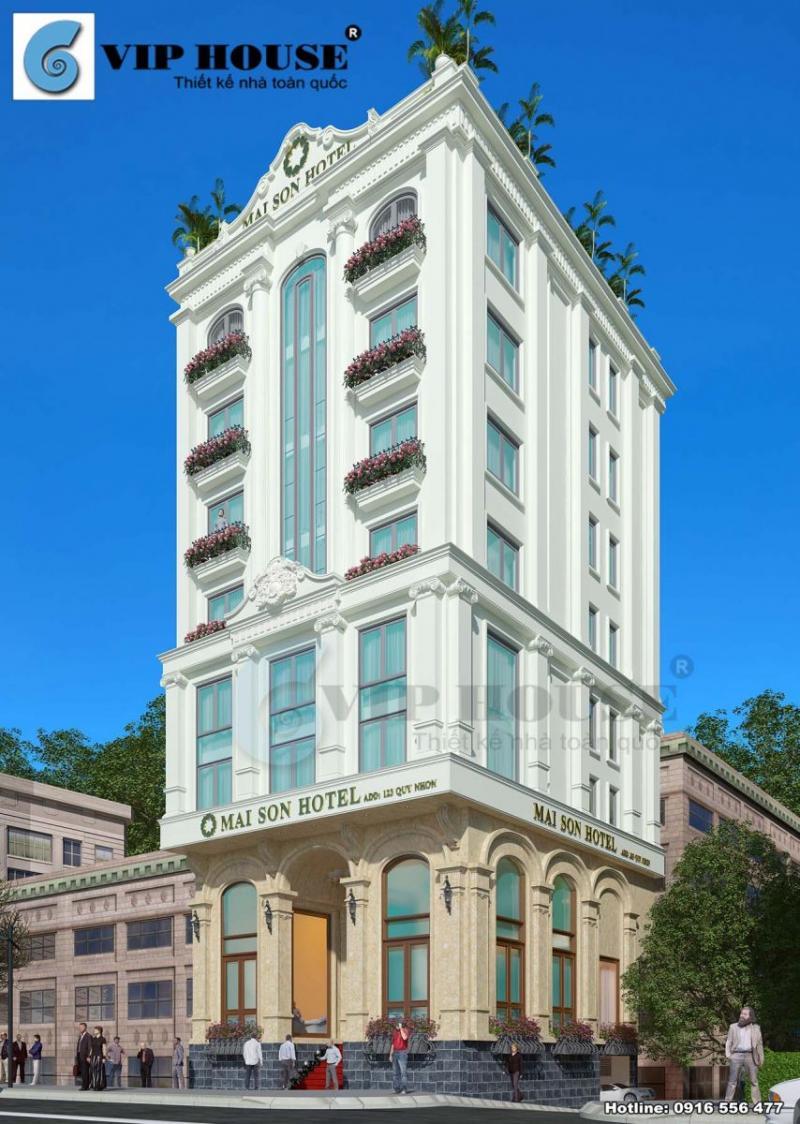 Hình ảnh: Phối cảnh góc hai mặt tiền thiết kế khách sạn tân cổ điển La MaiSon