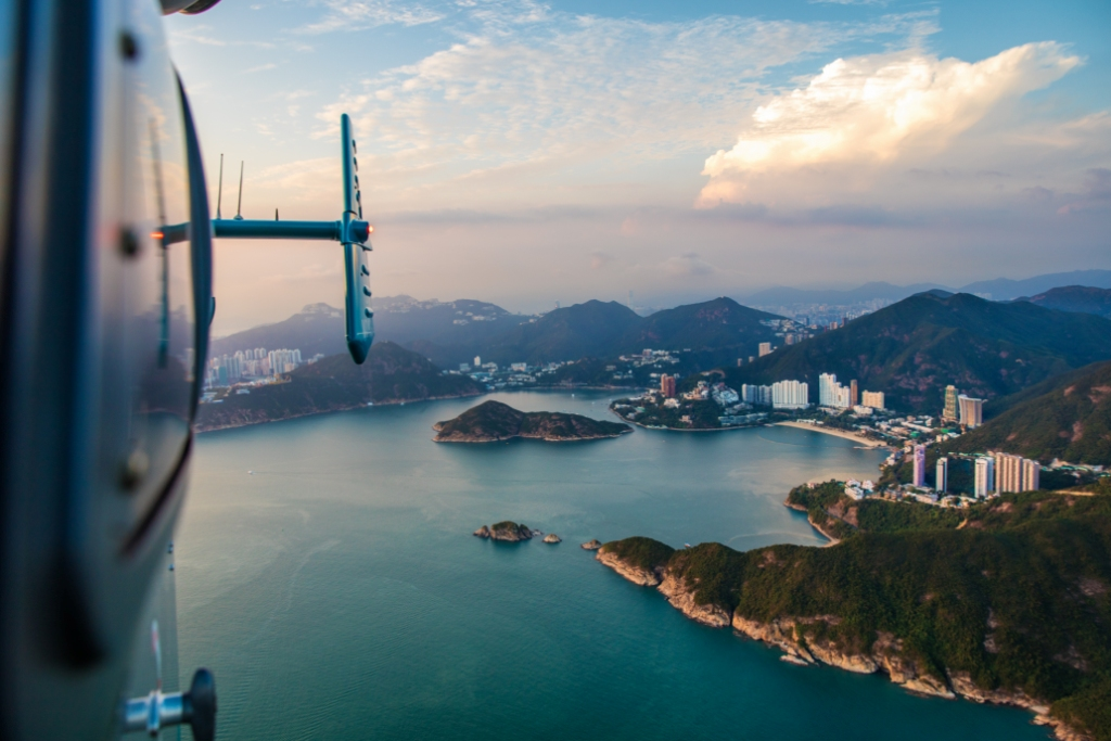 Hong Kong view from inside a Helicopter