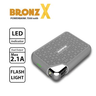 Hippo Power Bank Bronz X 7500 mah Garansi 1 Tahun - Real Capacity