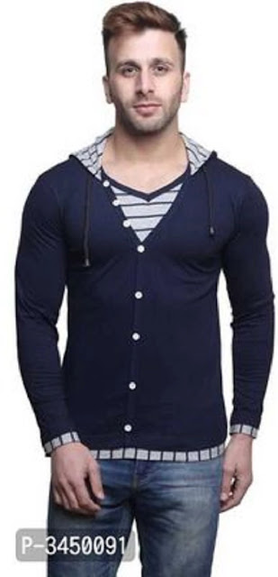Men's Navy Blue Cotton Hooded Tees