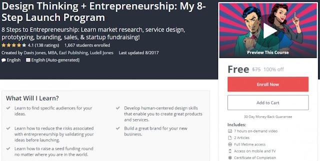 [100% Off] Design Thinking + Entrepreneurship: My 8-Step Launch Program| Worth 75$