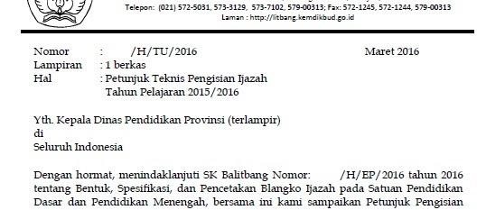 JUKNIS PENULISAN IJAZAH SD/SMP/SMA 2016