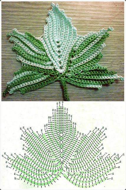 Ergahandmade  Leaves Crochet   Diagrams   Video