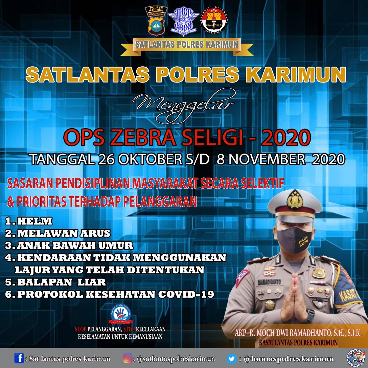 Polres Karimun Gelar Operasi Zebra Seligi 2020 Mulai 26 Oktober 2020 Ini
