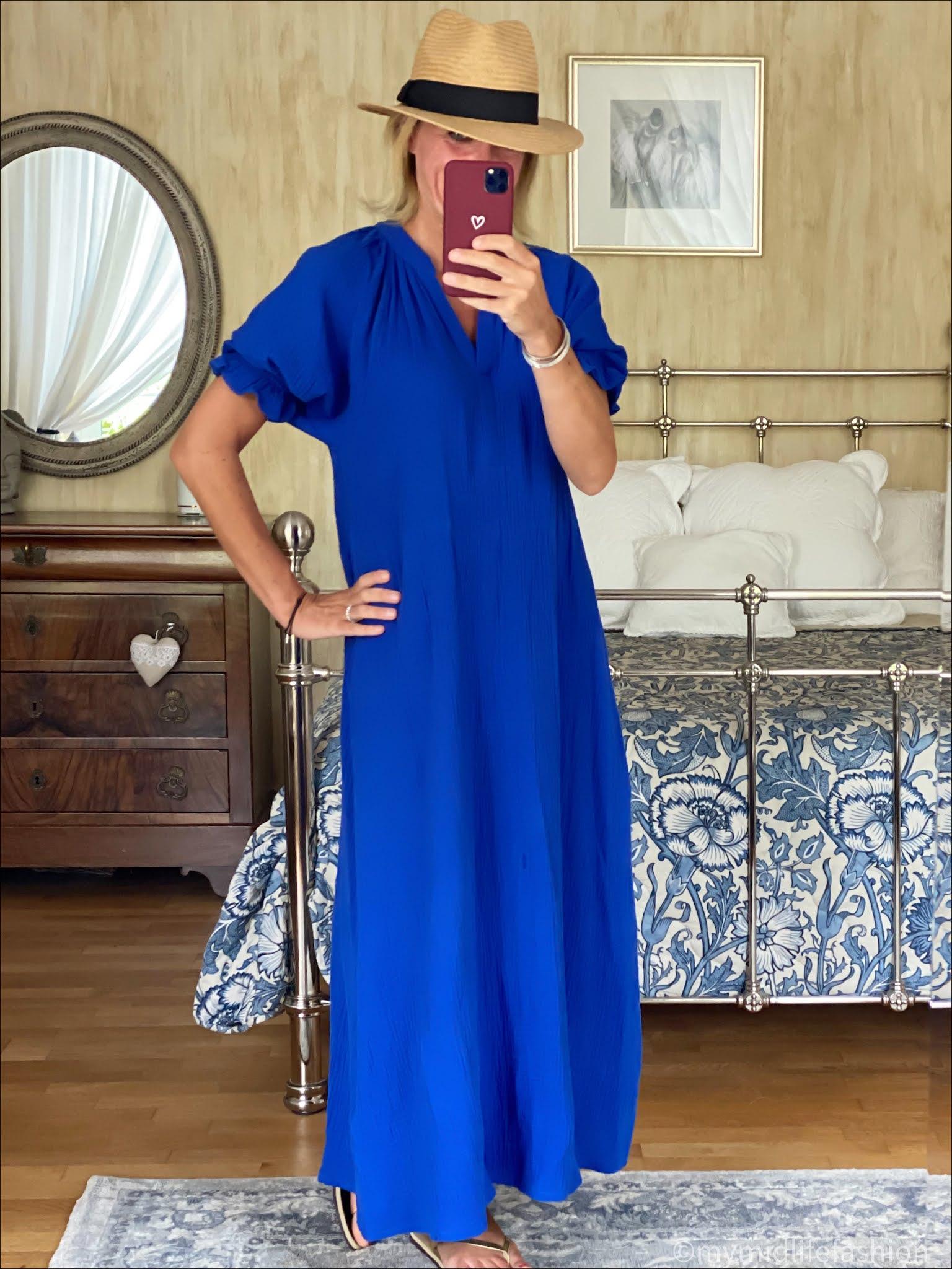 my midlife fashion, scarlet roos maxi dress, H&M Panama hat, havaianas slim fit flip flops