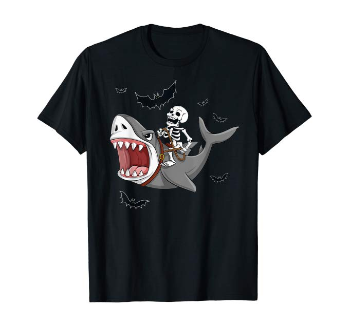 Skeleton Riding Shark Shirt