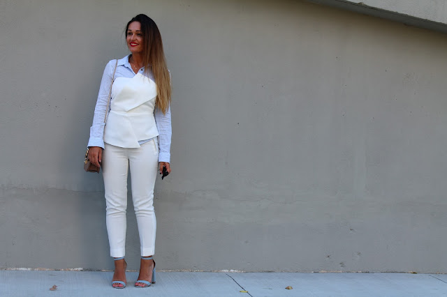 white pants, white suite, summer layering, how to layer in the summer, summer outfit, toronto blogger, valentino rockstud, pastel blue sandals, block heel sandals, schutz block heel sandal, best summer outfit, how to wear white pants