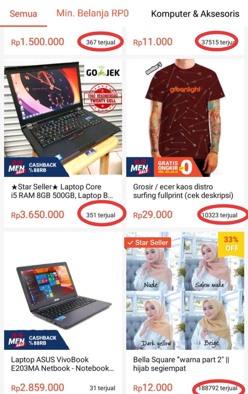 Kumpulan Lapak yang Memiliki 1000 Feedback atau Ulasan di Toko Online Shopee