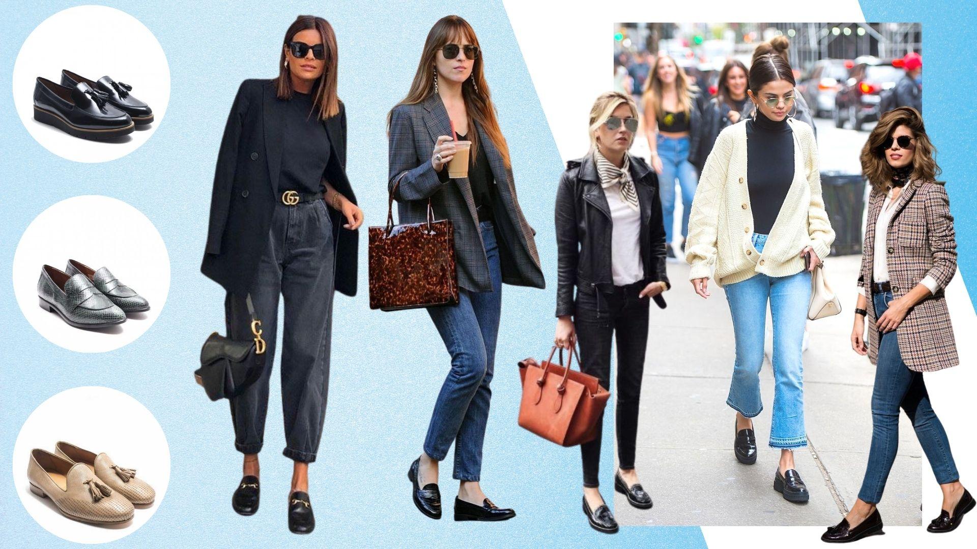 7 outfits con mocasines de piel para mujer