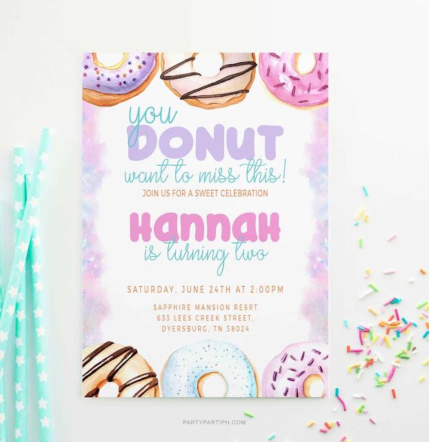 donut birthday invitation boy