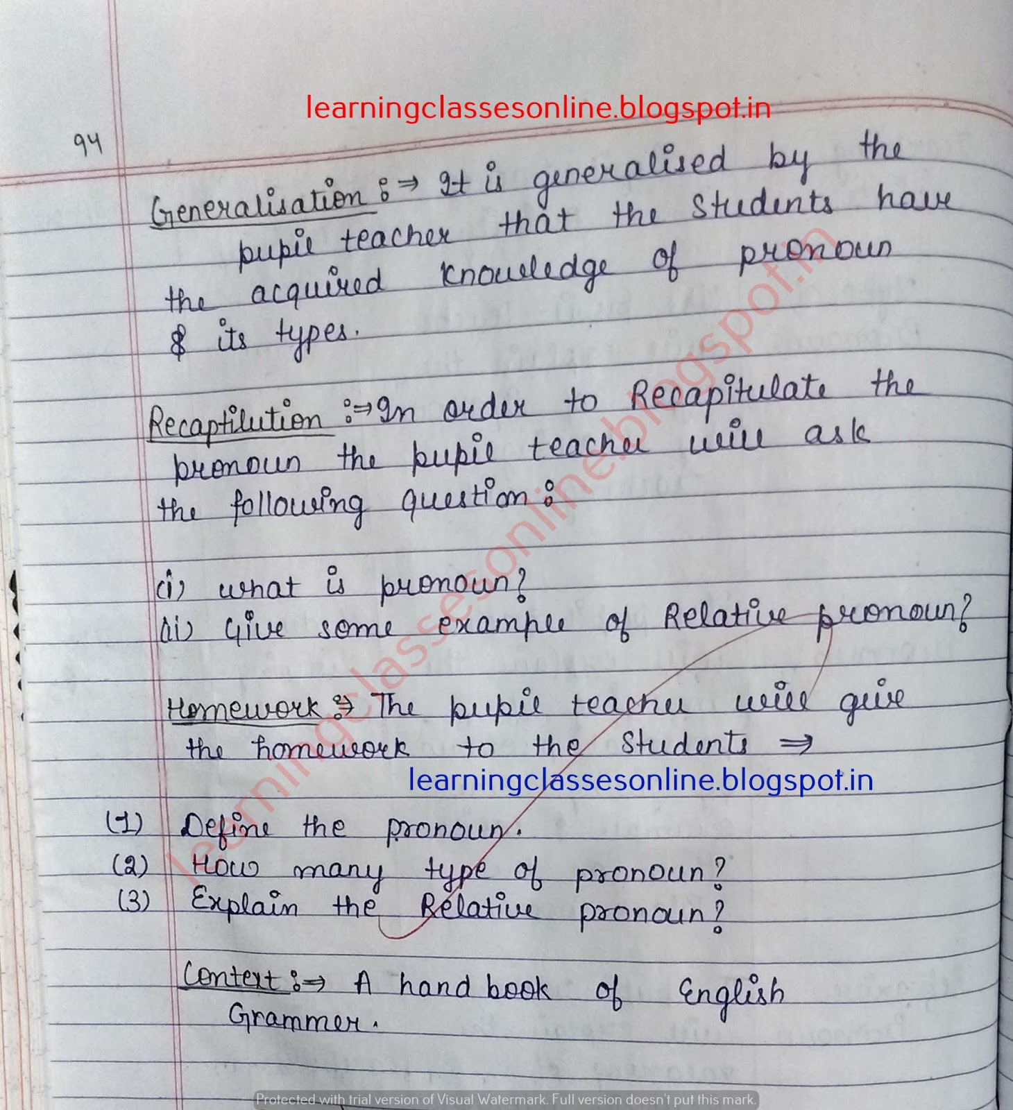 lesson plan for english class 6,