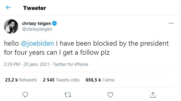 Chrissy Teigen begs Joe Biden to unfollow her on Twitter