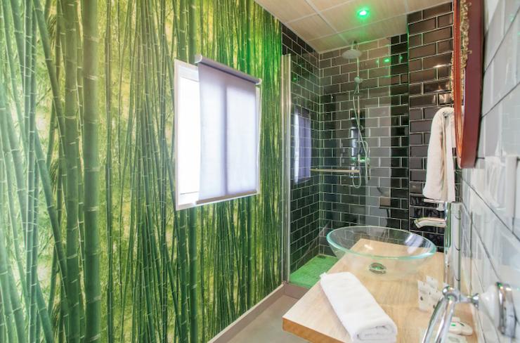 Cómo decorar una casa para alquilar: baño reformado con papel pintado imitación caña de bambú y aloe vera.