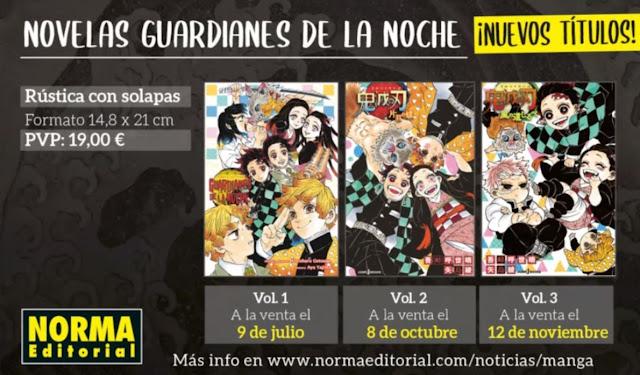 Las novelas y el fanbook de Kimetsu no Yaiba licenciados por Norma Editorial.