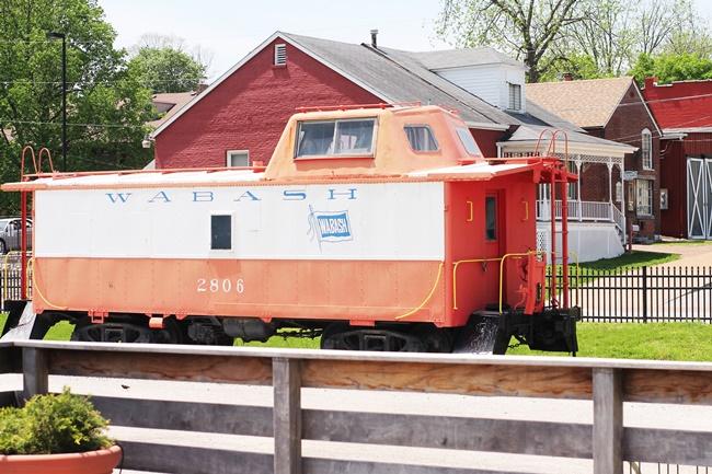 vintage red wabash train at historic St Charles