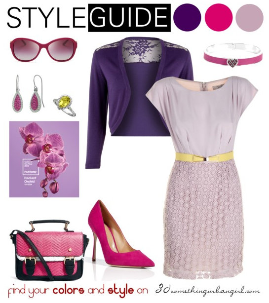 romantic and bright outfit with Radiant Orchid for Clear Winter
