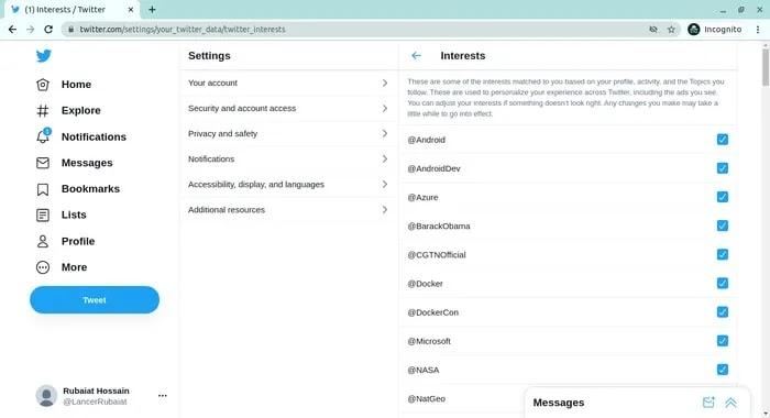 حذف البيانات الشخصية من اهتمامات تويتر