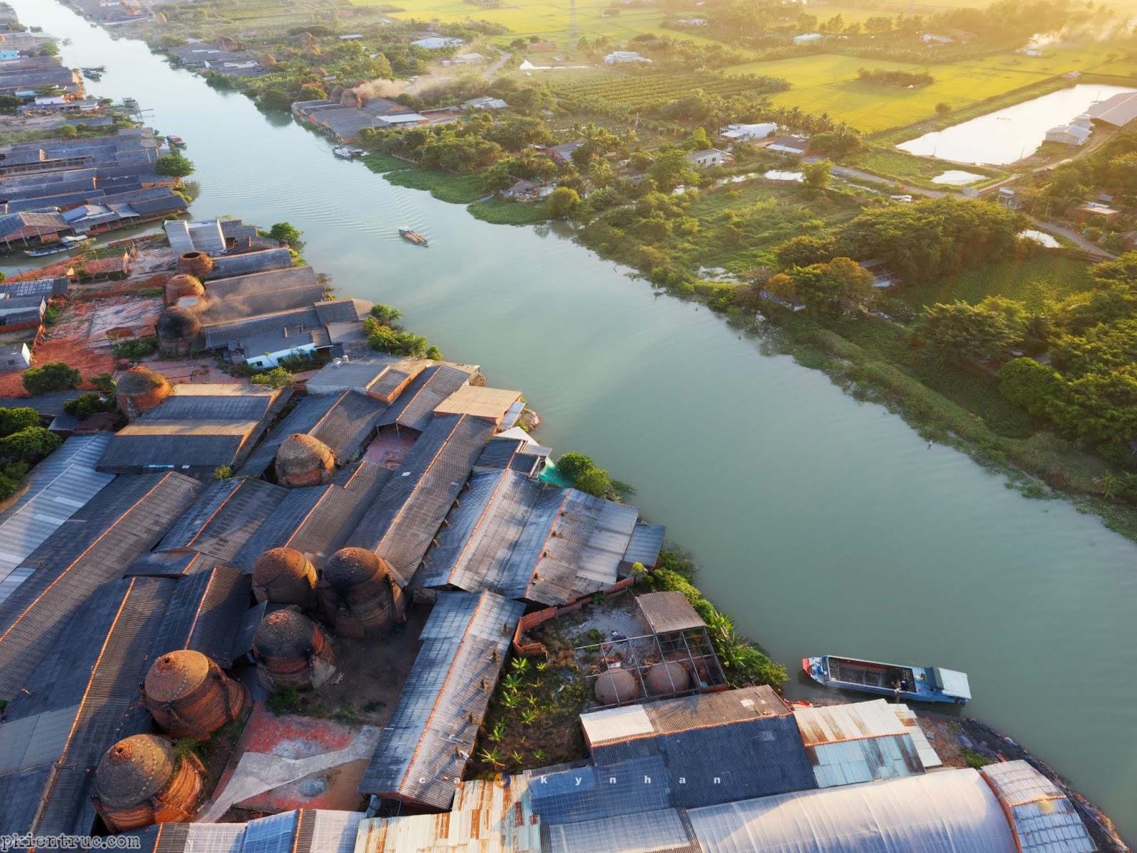 Ảnh chụp làng gốm Vĩnh Long trên cao