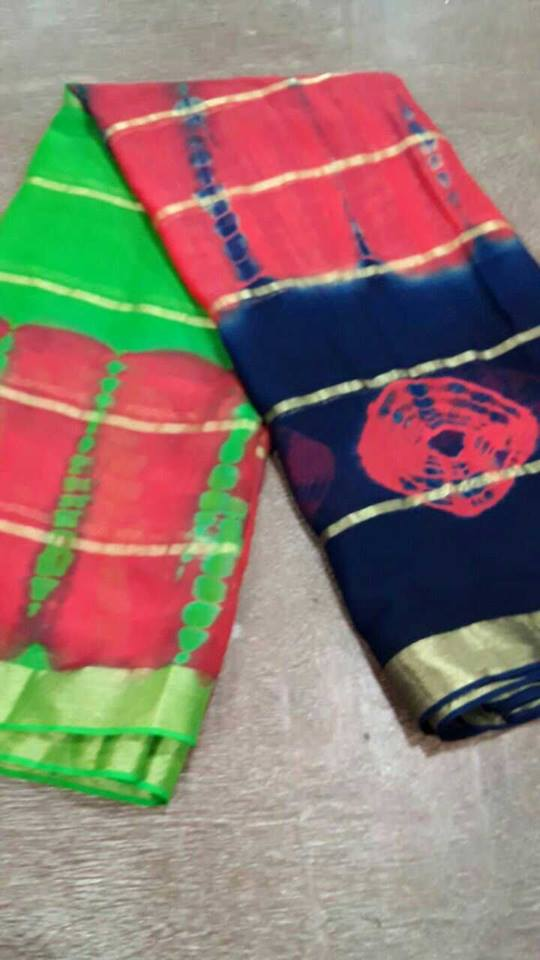 e2aac6d696 Here i s the latest 10 golden line 2d shibori saree with butta . Available  in different colors. These sarees have different shaded color combination.