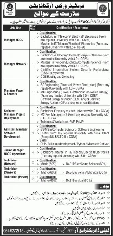 Latest FWO 2020 Jobs | Frontier Works Organization