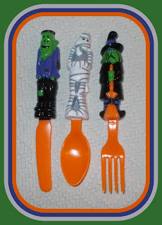 Frankenstein's Monster; Halloween Novelty Toy; Halloween Toy Figures; Halloween Toys; KFS Set; Lurch; Mummy; Novelty Cutlery; Novelty Figurines; Novelty Fork; Novelty KFS; Novelty Knife; Novelty Spoon; Party Cutlery; Party Favours; Party Goods; Picknick Cutlery; Picnic Cutlery; Picnik Cutlery; Small Scale World; smallscaleworld.blogspot.com; Witch;