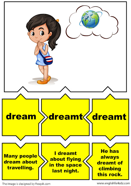 english for children, irregular verbs flashcards, verb dream