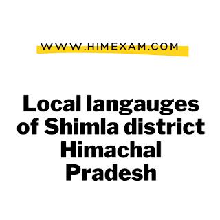 Local langauges of Shimla district Himachal Pradesh