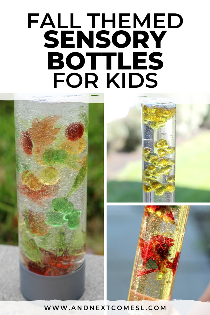 Fall inspired calming sensory bottles for kids