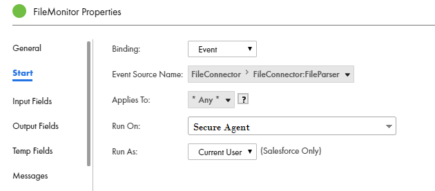 File Monitor Process Start Properties