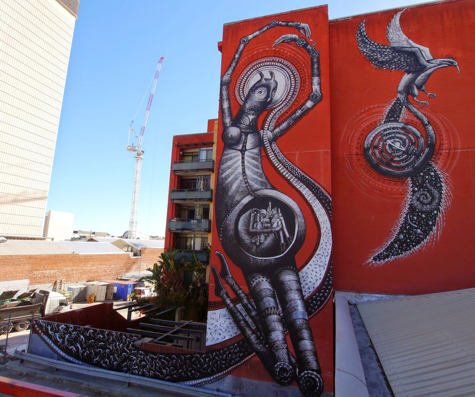 Last seen in London last February (covered), Phlegm is now in Australia where he spent the last few days working on this monster piece.