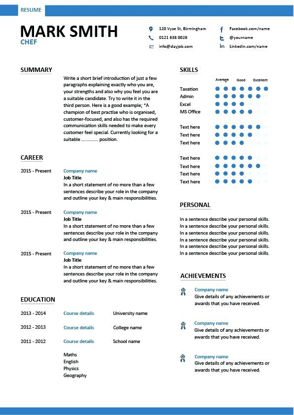 Resume Structure Examples 2019 Resume Templates
