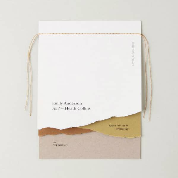 torn paper landscape wedding invitation