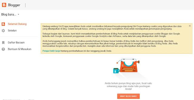 Tampilan selamat datang di Blogger saat membuat blog baru di Blogger