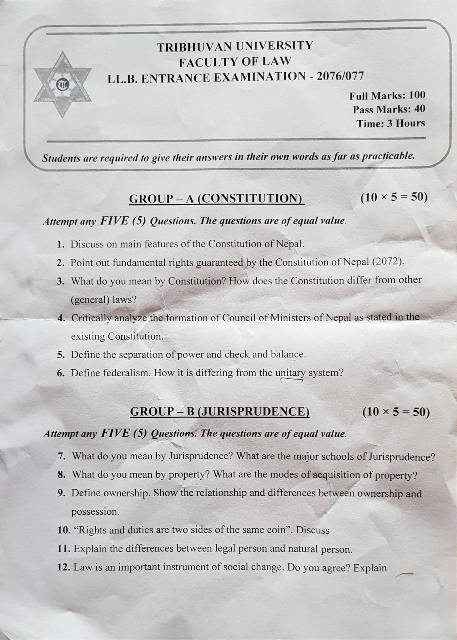 LLB Entrance Exam TU Question Paper