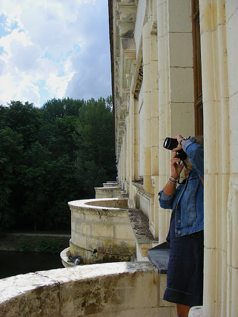 Photographer on newly accessible balcony at Chenonceau during Covid19 restrictions.  Indre et Loire, France. Photographed by Susan Walter. Tour the Loire Valley with a classic car and a private guide.