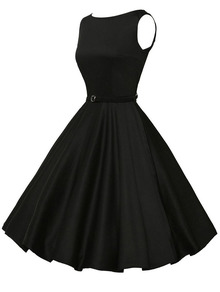 black flared dress, little black dress