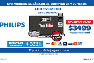 tecno promos argentina promo carrefour 20 de descuento lcd tv 32 philips. Black Bedroom Furniture Sets. Home Design Ideas