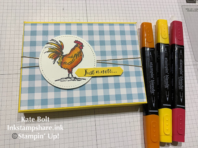 Note card and envelopes and gift box using Home To Roost and Gingham Gala