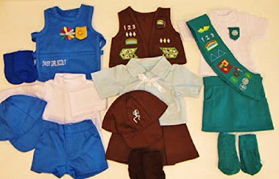 This gift set of Girl Scout uniforms fits 18 inch dolls.
