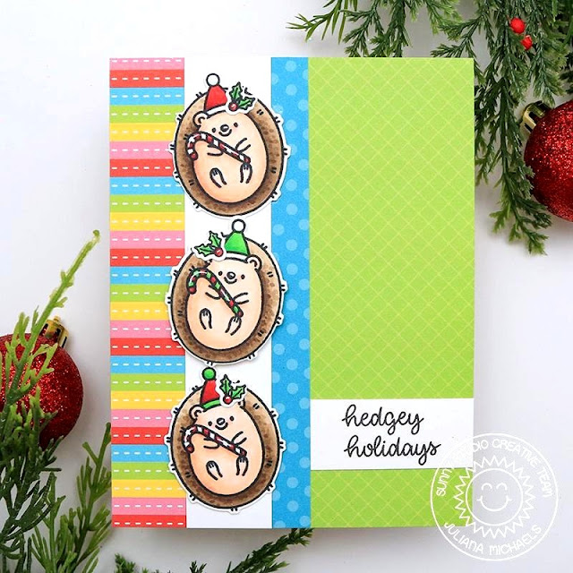 Sunny Studio Blog: Handmade Hedgehog Holiday Christmas Card by Juliana Michaels (using Hedgey Holiday Stamps & Very Merry Paper)