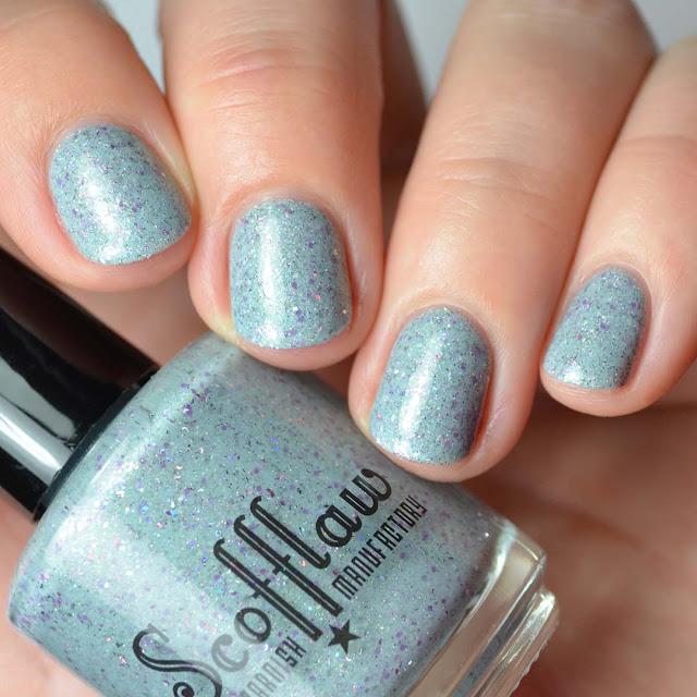 grey jelly nail polish with glitter