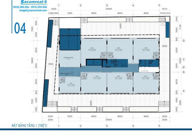 Mặt bằng trệt dự án căn hộ Carillon 3 Hoàng Hoa Thám
