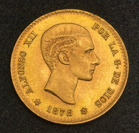 Spanish Gold Coins 10 Pesetas Gold Coin Of 1878 Alfonso