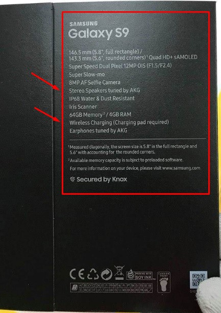 Samsung Galaxy S9 Box with  Specs
